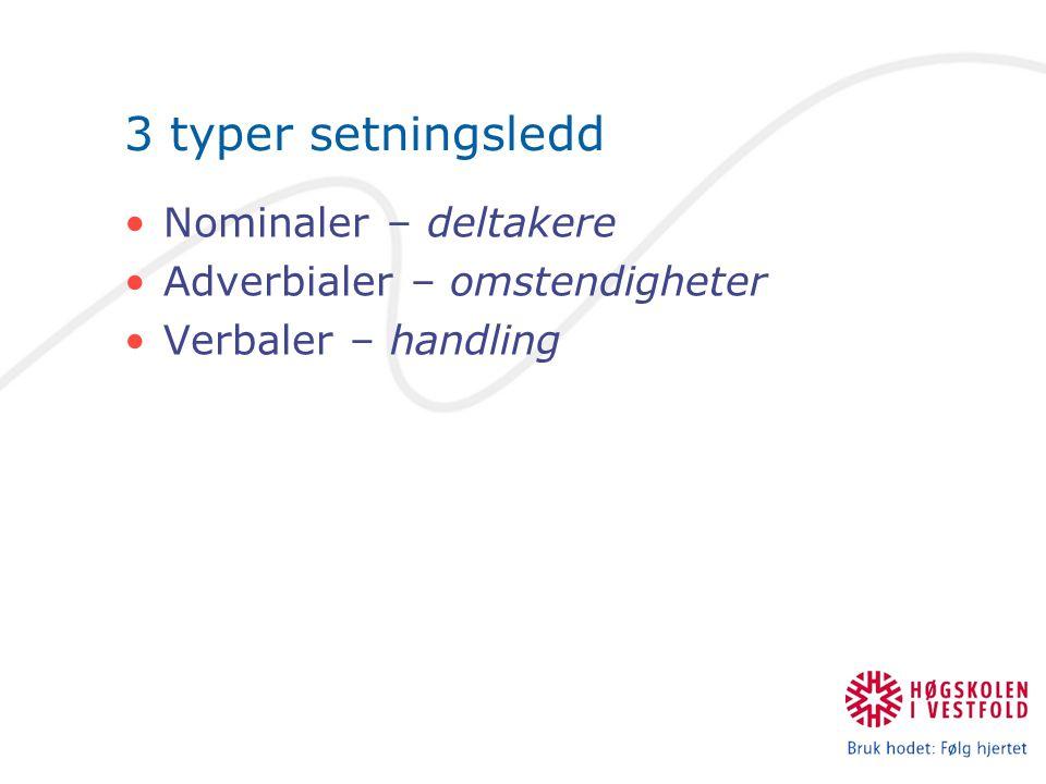 3 typer setningsledd Nominaler – deltakere