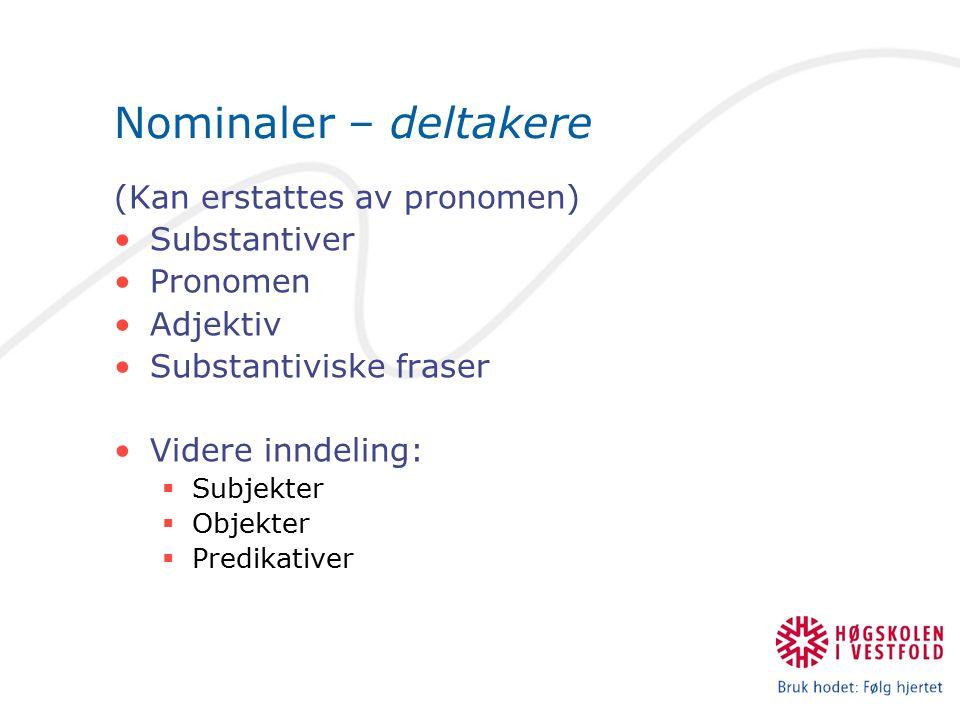 Nominaler – deltakere (Kan erstattes av pronomen) Substantiver