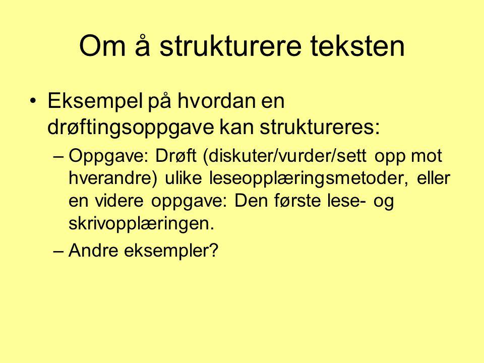Om å strukturere teksten