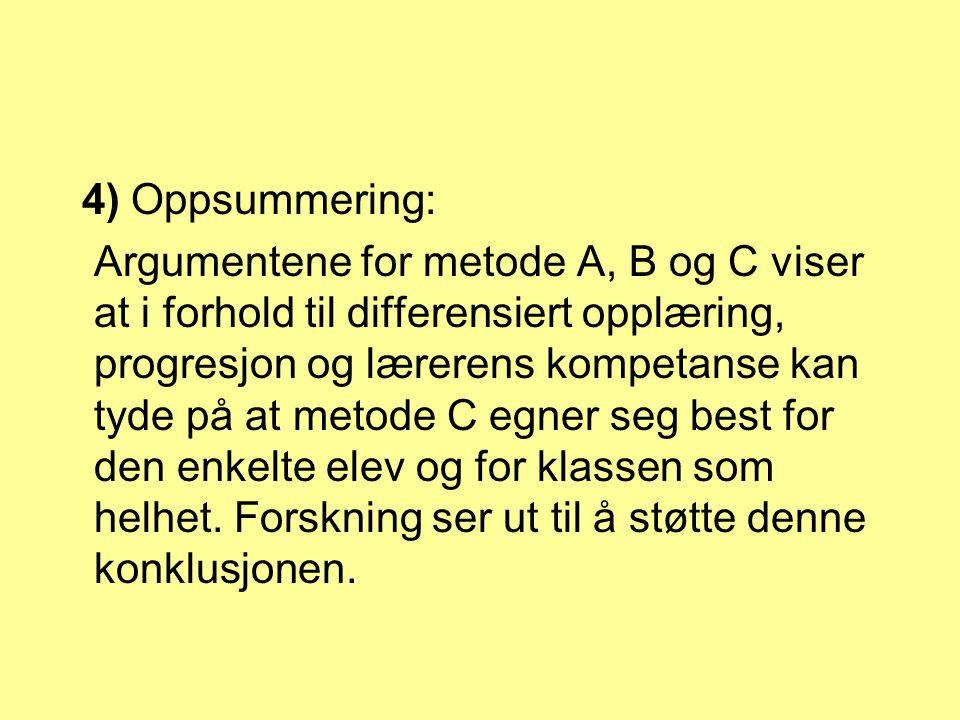 4) Oppsummering: