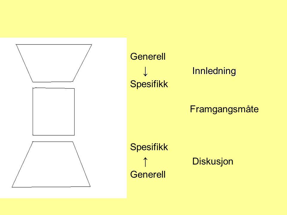 Generell ↓ Innledning Spesifikk Framgangsmåte ↑ Diskusjon