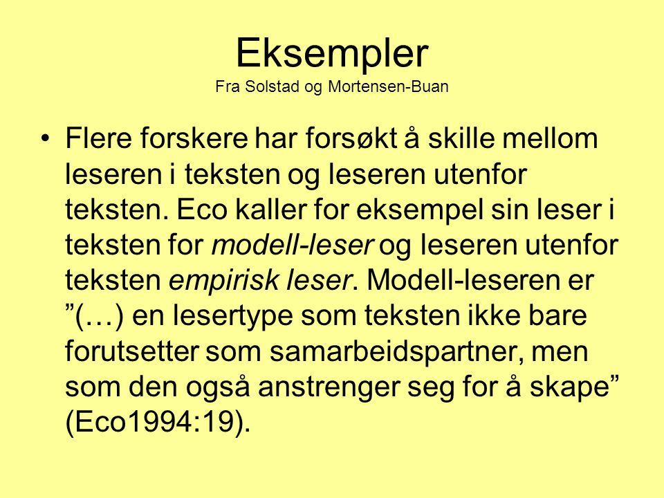 Eksempler Fra Solstad og Mortensen-Buan