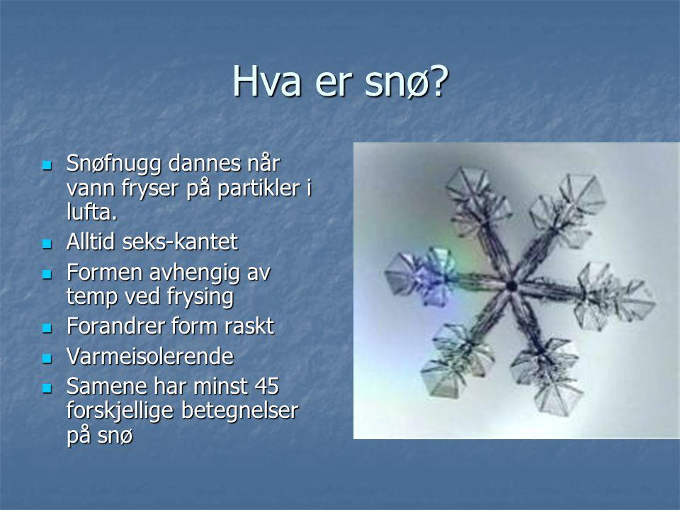 Hva er snø Snøfnugg dannes når vann fryser på partikler i lufta.