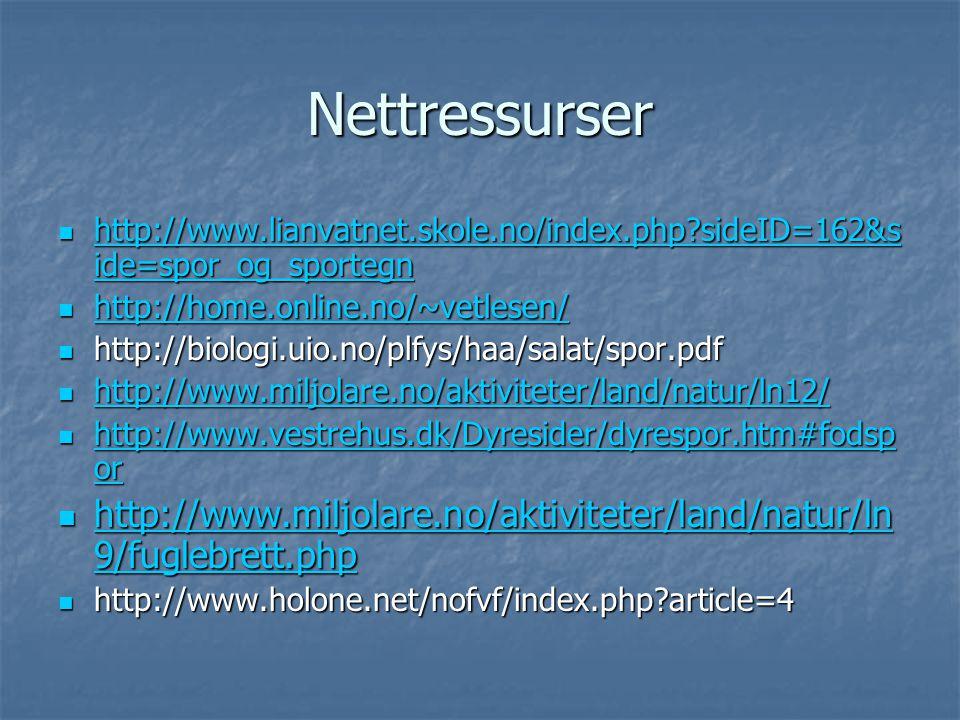 Nettressurser http://www.lianvatnet.skole.no/index.php sideID=162&side=spor_og_sportegn. http://home.online.no/~vetlesen/