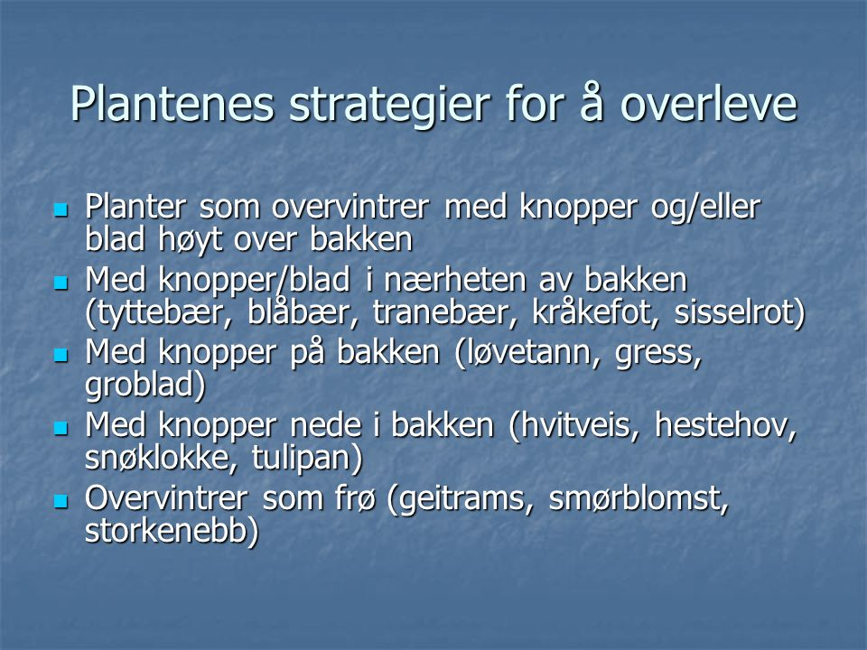 Plantenes strategier for å overleve