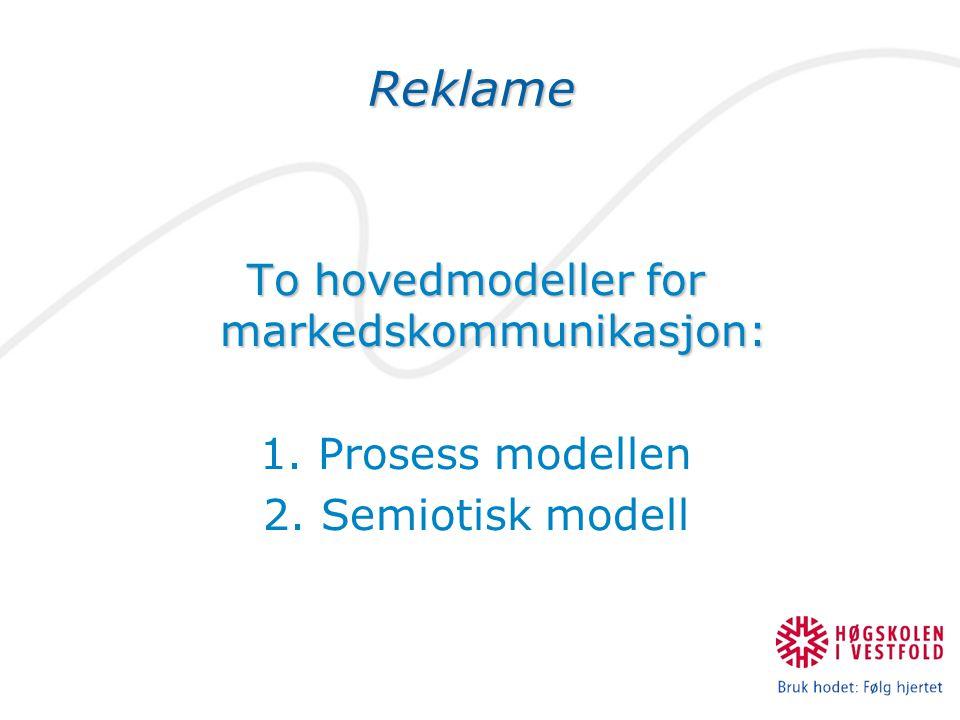 To hovedmodeller for markedskommunikasjon: