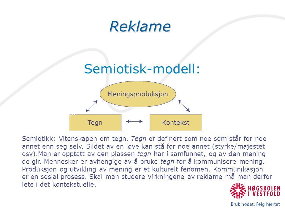 Reklame Semiotisk-modell: Avsender Budskap Kanal Mottaker