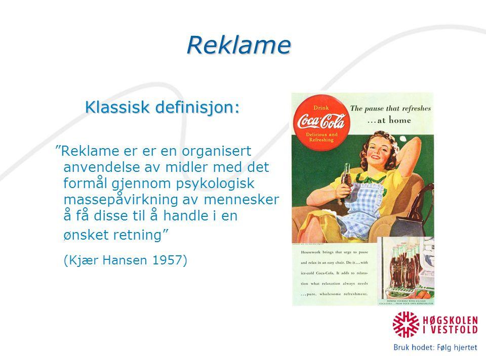Reklame Klassisk definisjon: