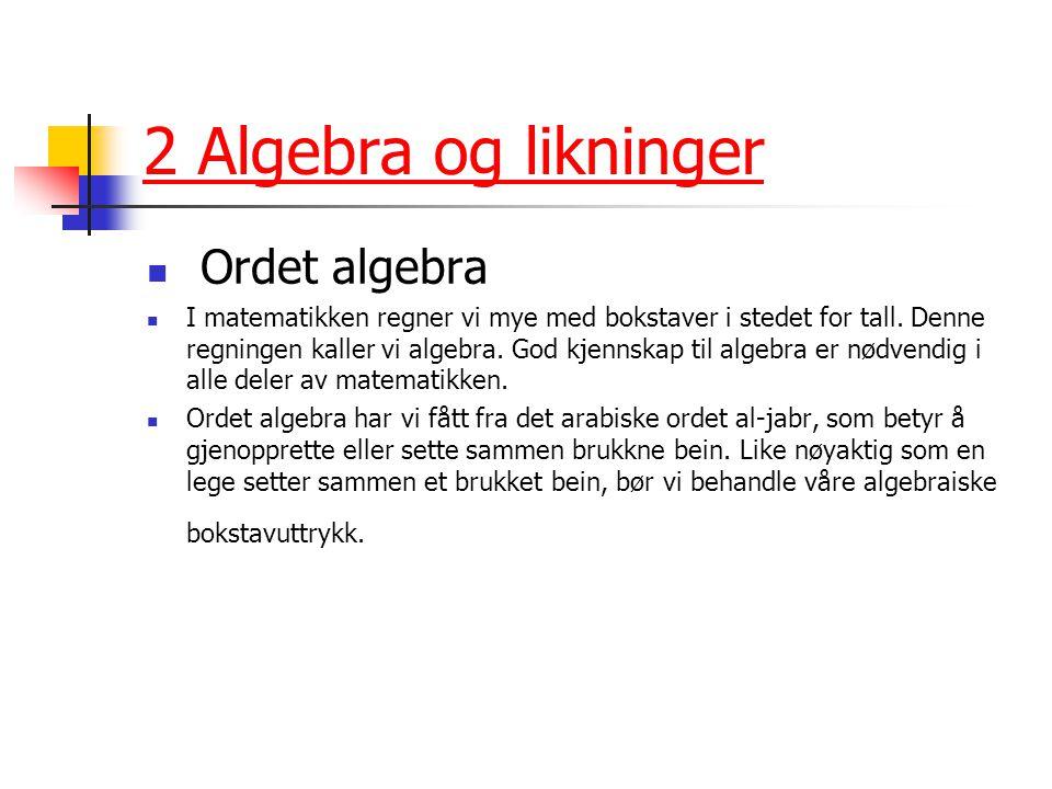 2 Algebra og likninger Ordet algebra