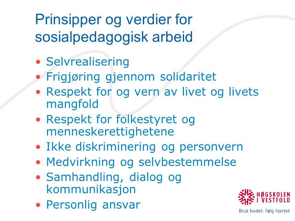 Prinsipper og verdier for sosialpedagogisk arbeid