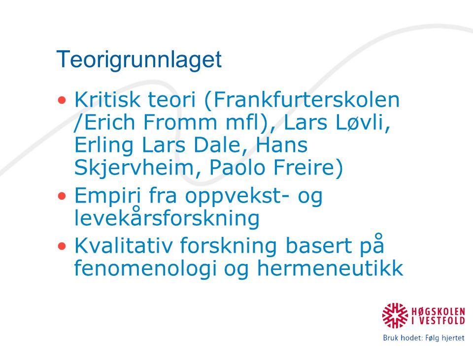 Teorigrunnlaget Kritisk teori (Frankfurterskolen /Erich Fromm mfl), Lars Løvli, Erling Lars Dale, Hans Skjervheim, Paolo Freire)