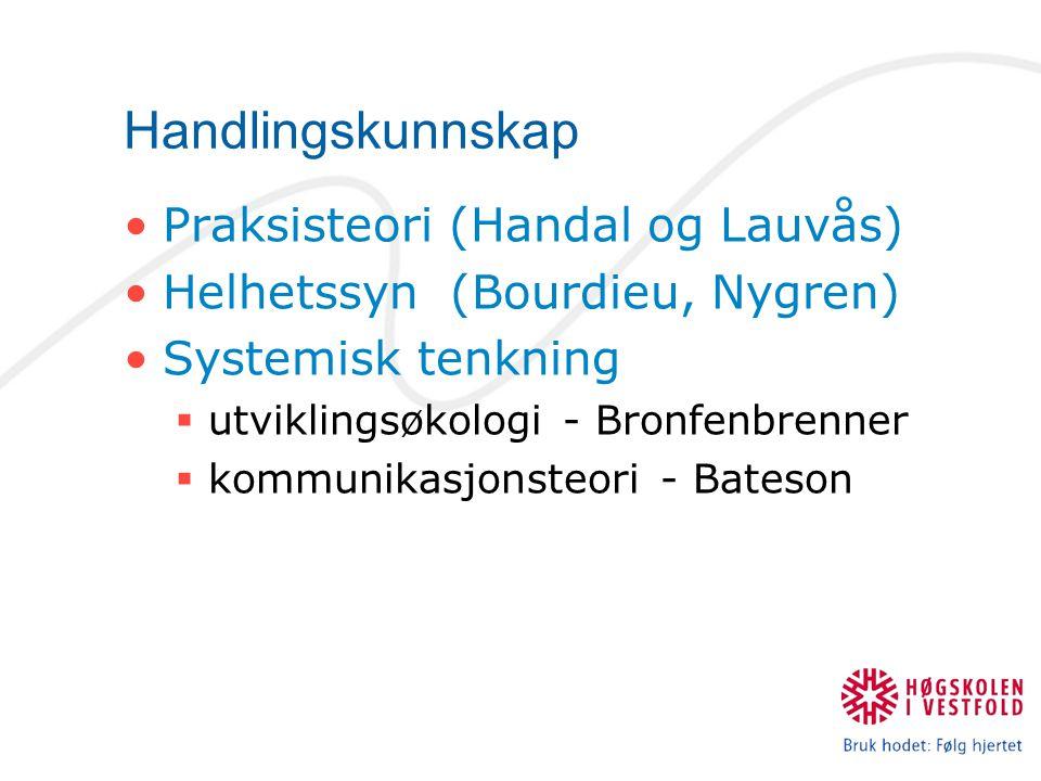 Handlingskunnskap Praksisteori (Handal og Lauvås)