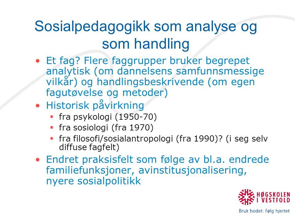 Sosialpedagogikk som analyse og som handling