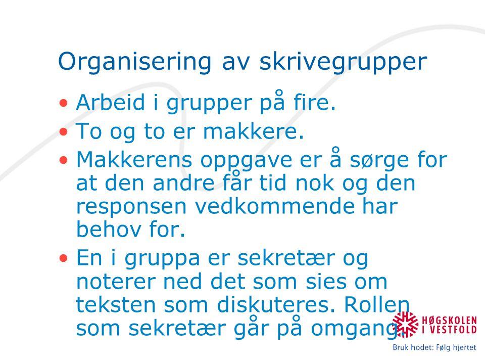 Organisering av skrivegrupper