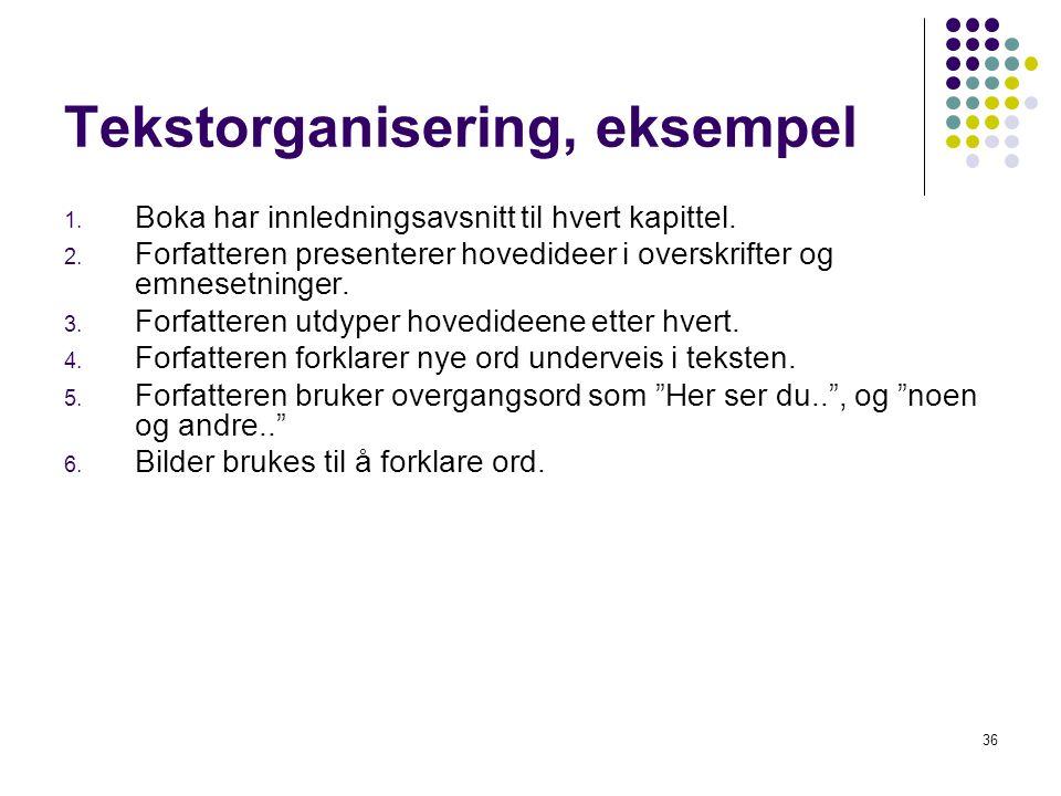 Tekstorganisering, eksempel