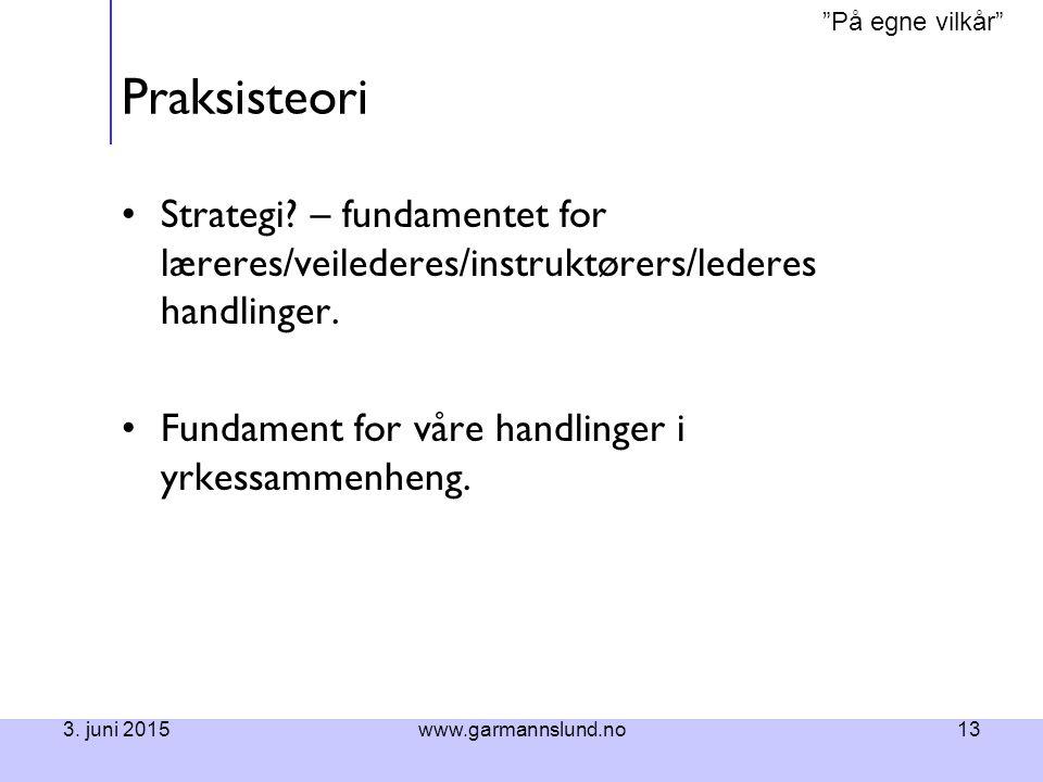 Praksisteori Strategi – fundamentet for læreres/veilederes/instruktørers/lederes handlinger. Fundament for våre handlinger i yrkessammenheng.