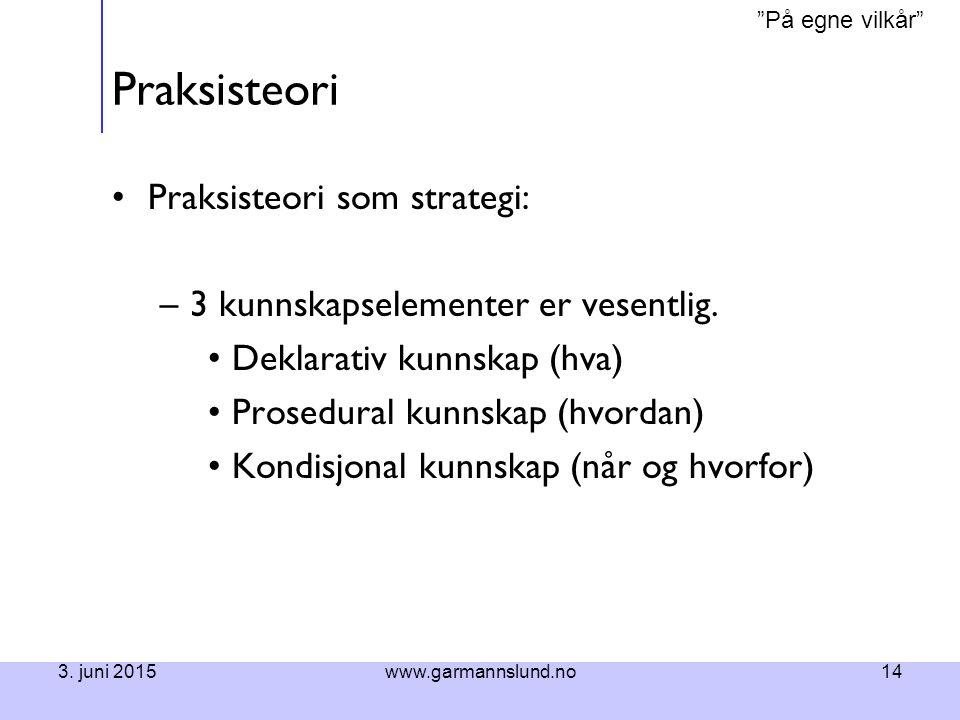 Praksisteori Praksisteori som strategi: