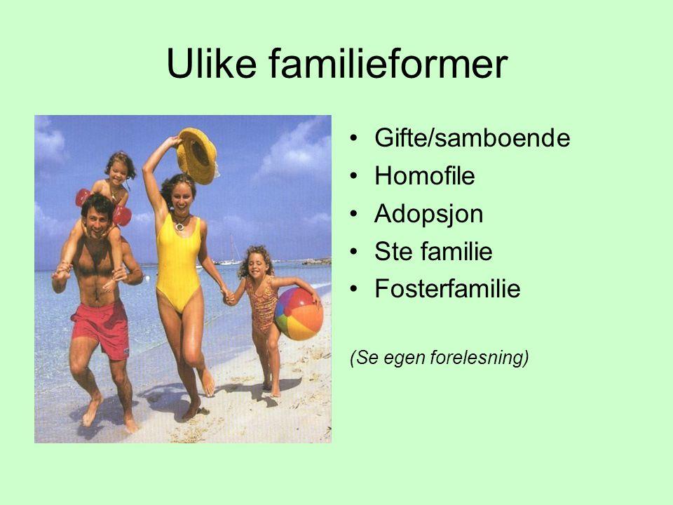 Ulike familieformer Gifte/samboende Homofile Adopsjon Ste familie