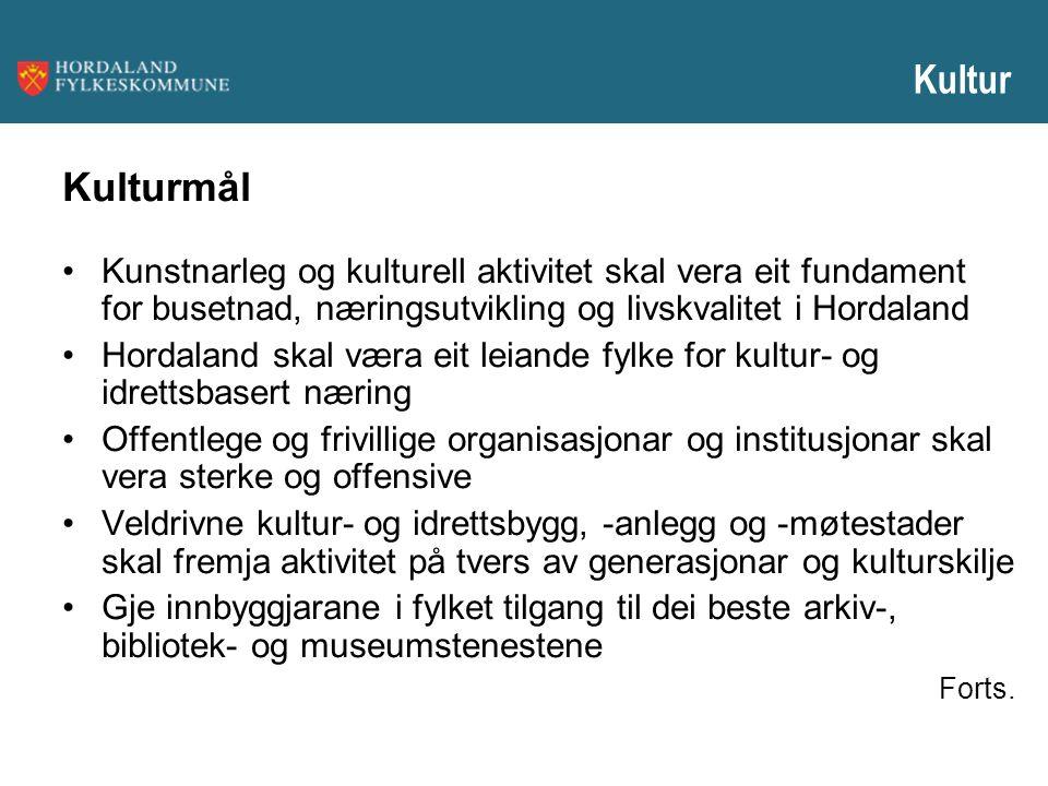 Kultur Kulturmål. Kunstnarleg og kulturell aktivitet skal vera eit fundament for busetnad, næringsutvikling og livskvalitet i Hordaland.