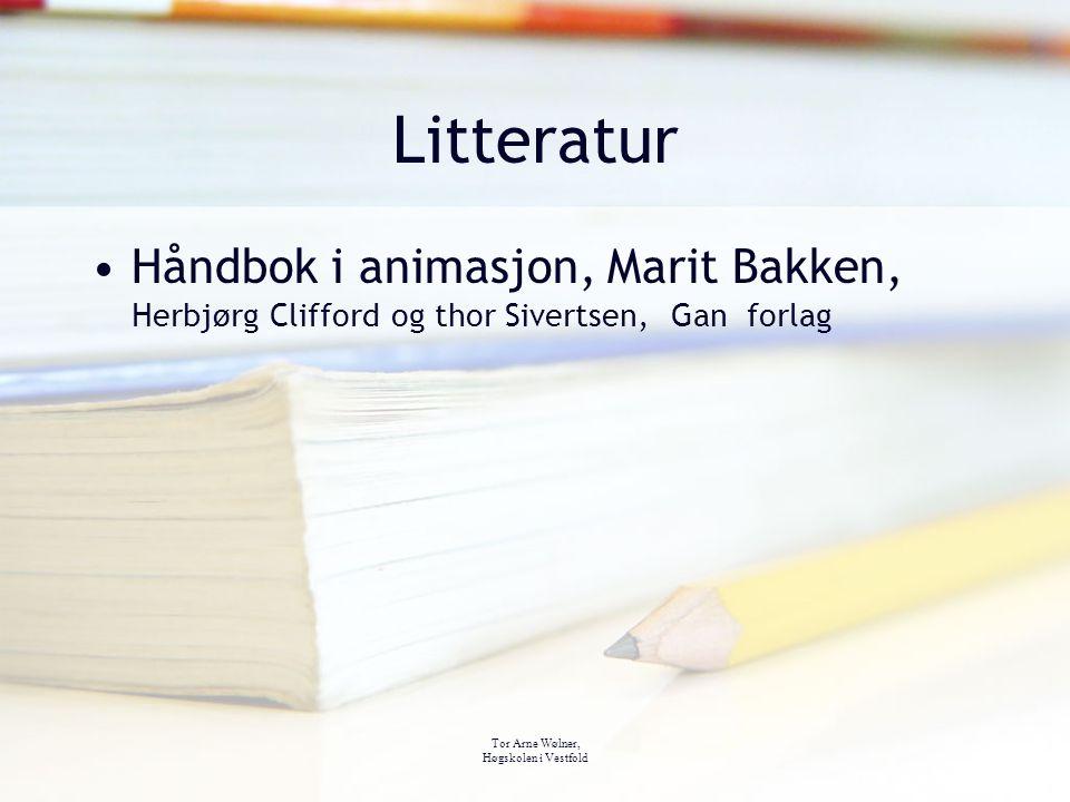 Litteratur Håndbok i animasjon, Marit Bakken, Herbjørg Clifford og thor Sivertsen, Gan forlag. Tor Arne Wølner,
