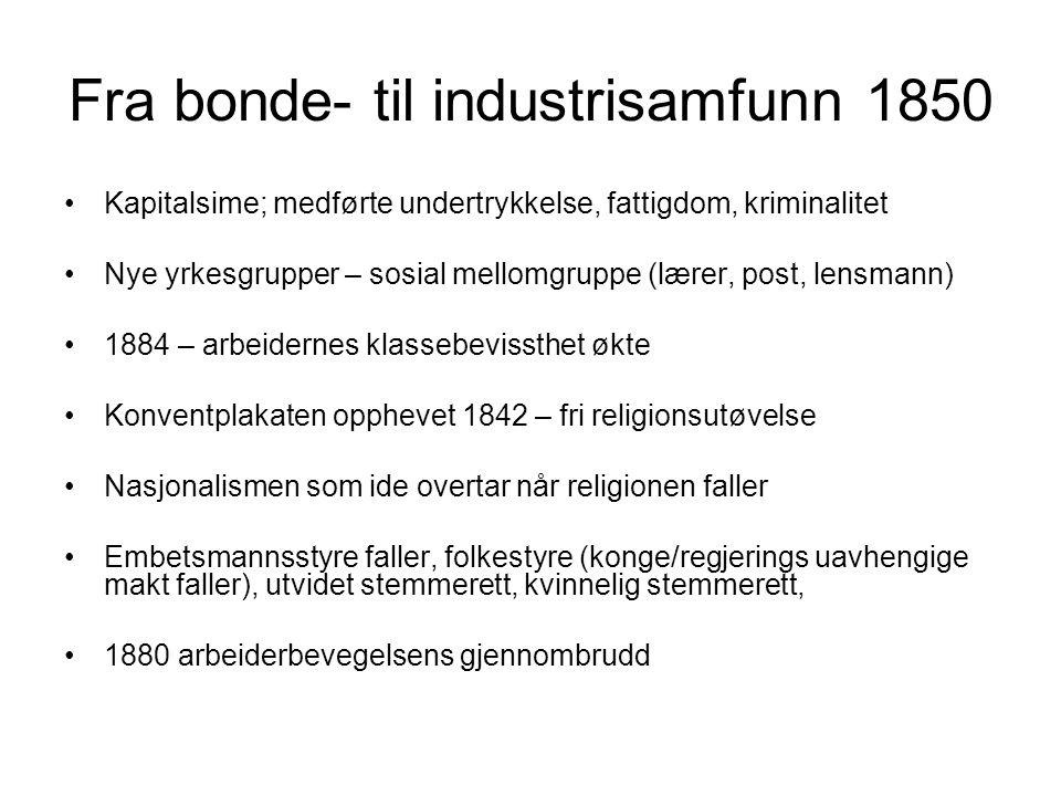 Fra bonde- til industrisamfunn 1850