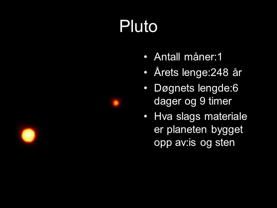 Pluto Antall måner:1 Årets lenge:248 år