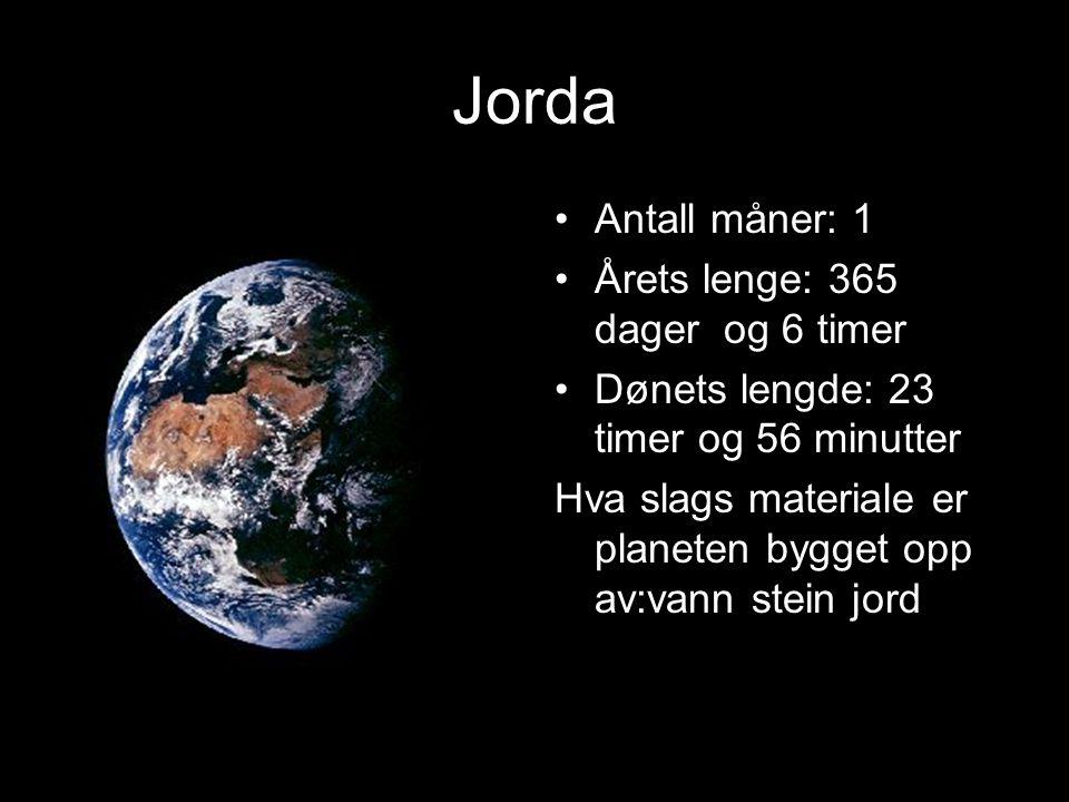 Jorda Antall måner: 1 Årets lenge: 365 dager og 6 timer