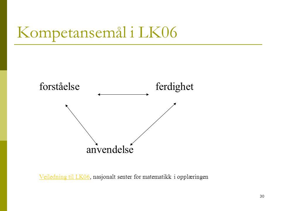 Kompetansemål i LK06 forståelse ferdighet anvendelse