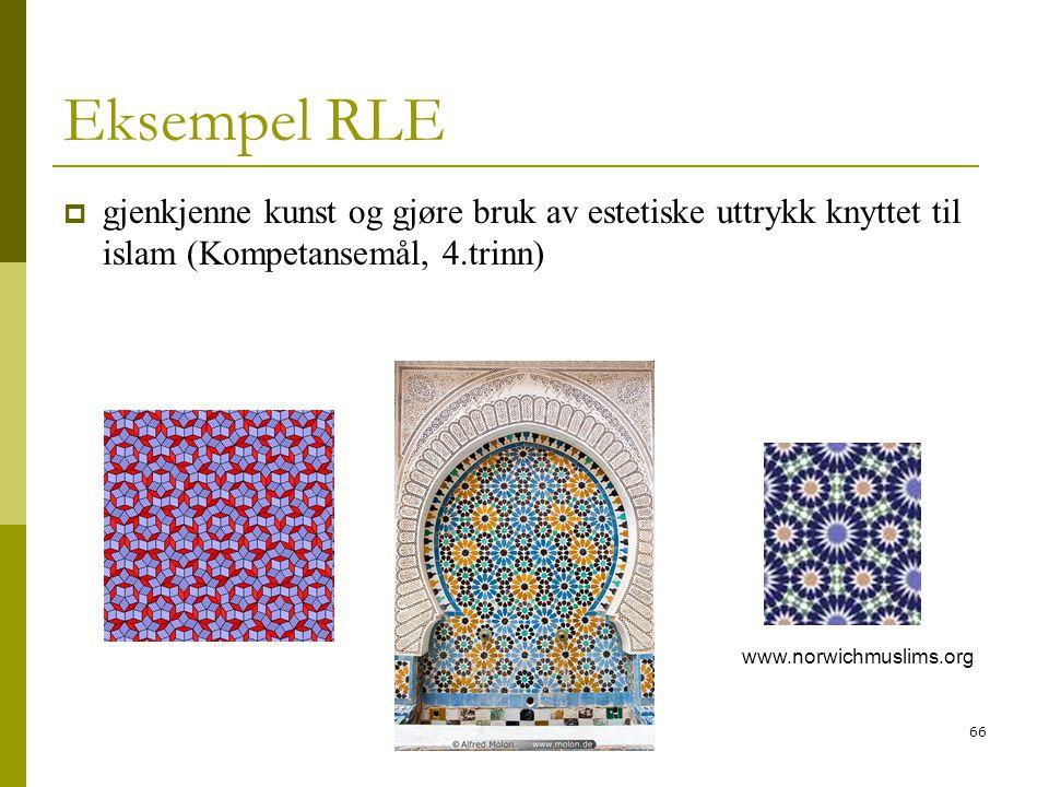 Eksempel RLE gjenkjenne kunst og gjøre bruk av estetiske uttrykk knyttet til islam (Kompetansemål, 4.trinn)