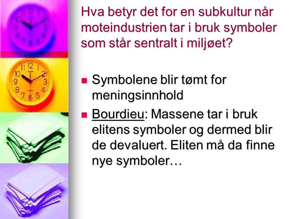Hva betyr det for en subkultur når moteindustrien tar i bruk symboler som står sentralt i miljøet