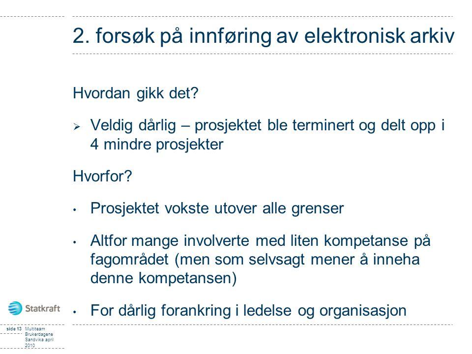 2. forsøk på innføring av elektronisk arkiv