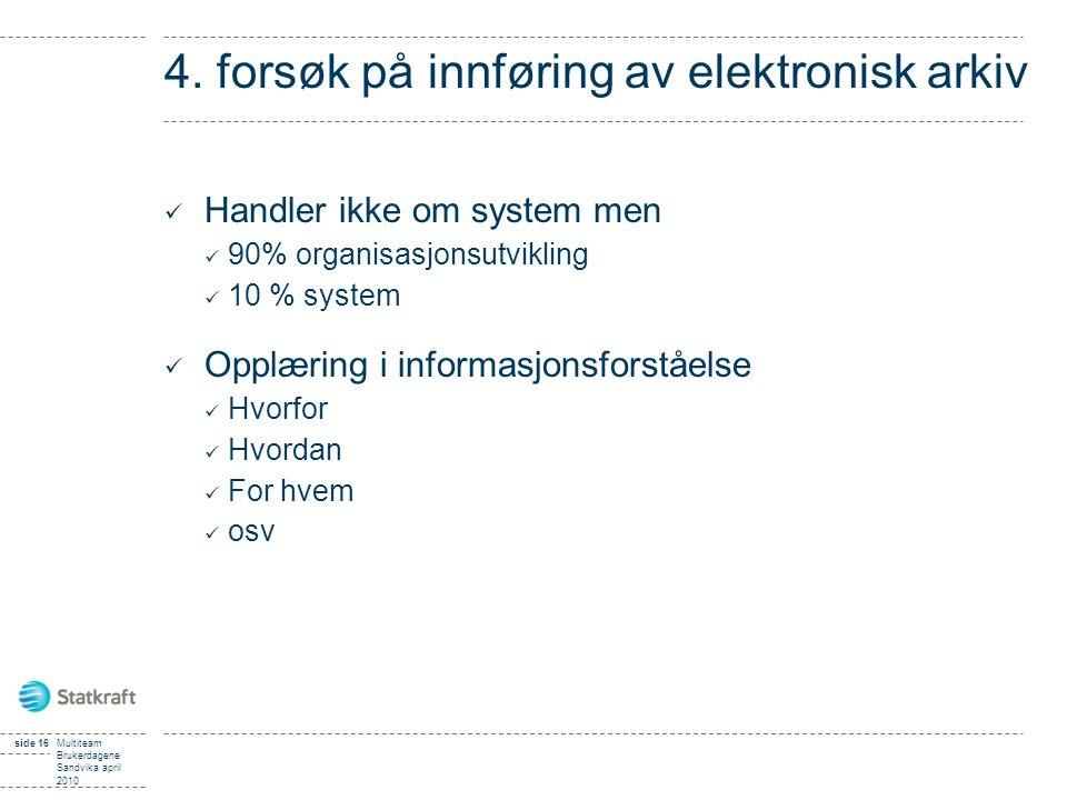 4. forsøk på innføring av elektronisk arkiv