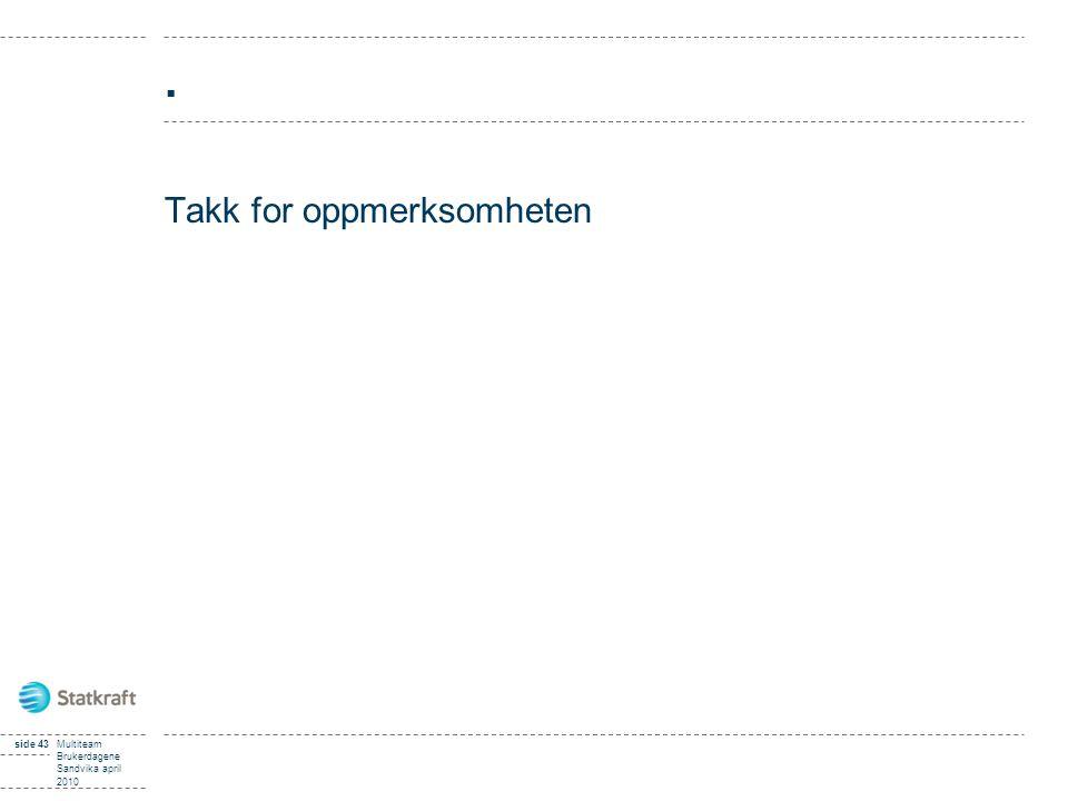 . Takk for oppmerksomheten Multiteam Brukerdagene Sandvika april 2010