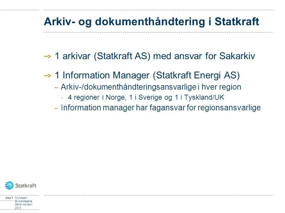 Arkiv- og dokumenthåndtering i Statkraft