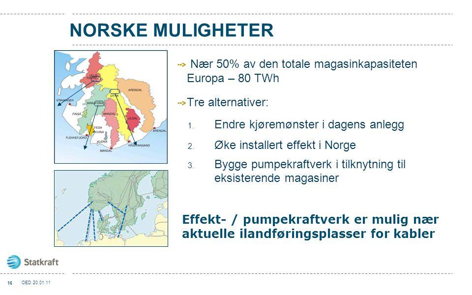 NORSKE MULIGHETER Nær 50% av den totale magasinkapasiteten Europa – 80 TWh. Tre alternativer: Endre kjøremønster i dagens anlegg.
