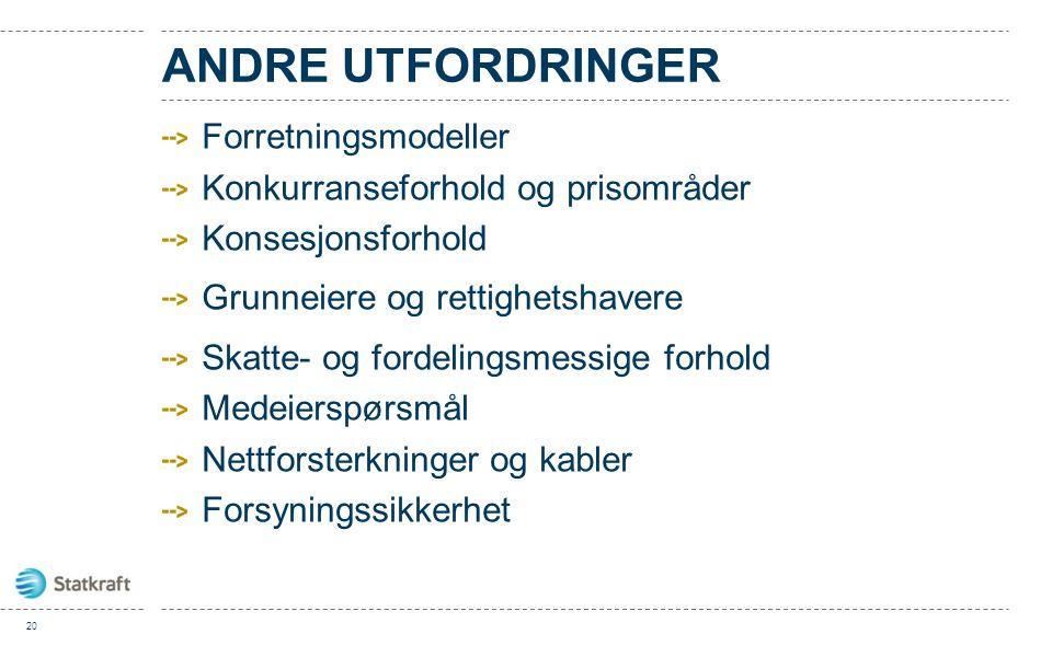 ANDRE UTFORDRINGER Forretningsmodeller