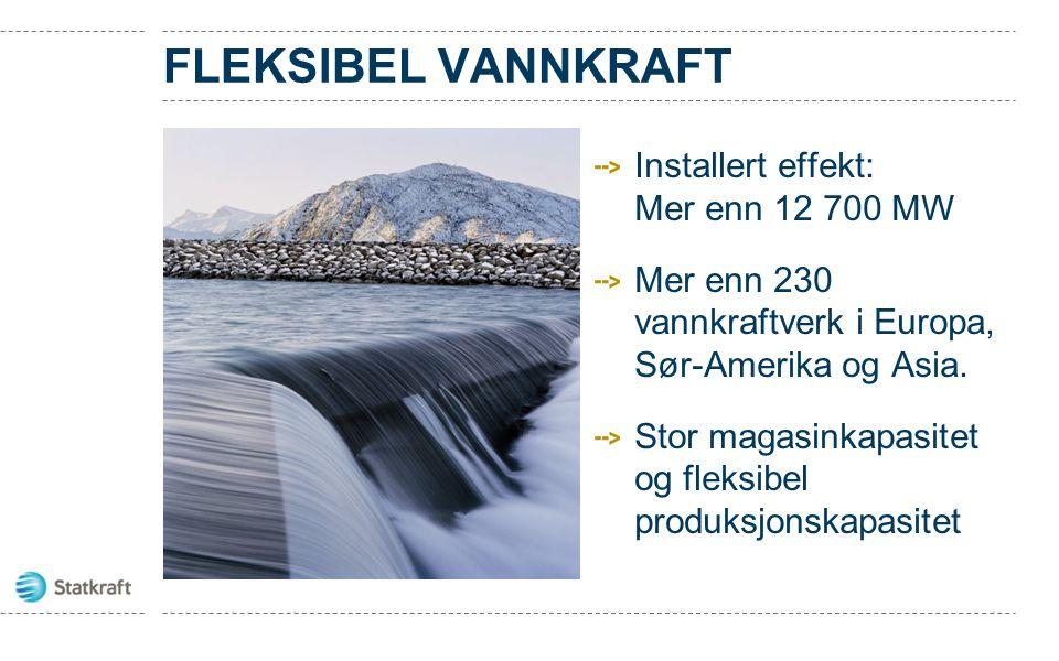 FLEKSIBEL VANNKRAFT Installert effekt: Mer enn 12 700 MW