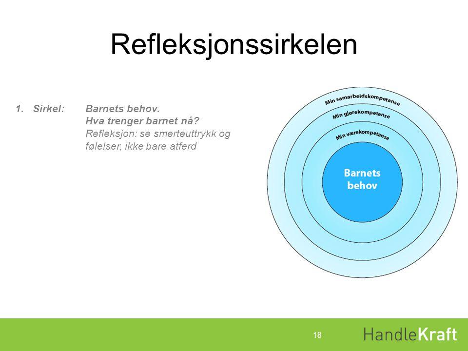 Refleksjonssirkelen Sirkel: Barnets behov. Hva trenger barnet nå