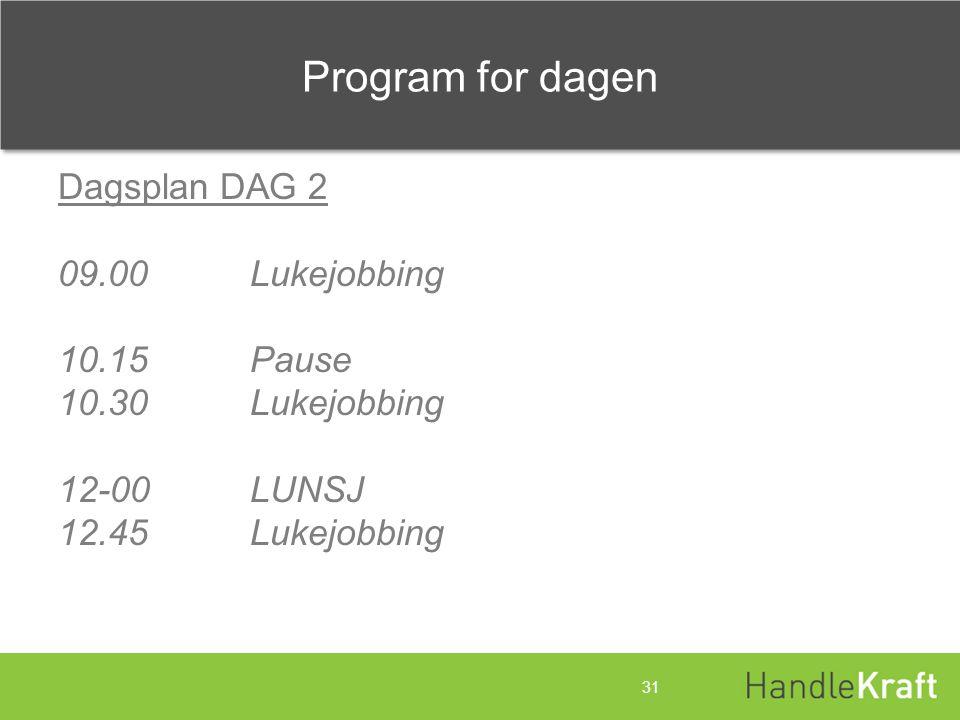 Program for dagen Dagsplan DAG 2 09.00 Lukejobbing 10.15 Pause 10.30 Lukejobbing 12-00 LUNSJ 12.45 Lukejobbing