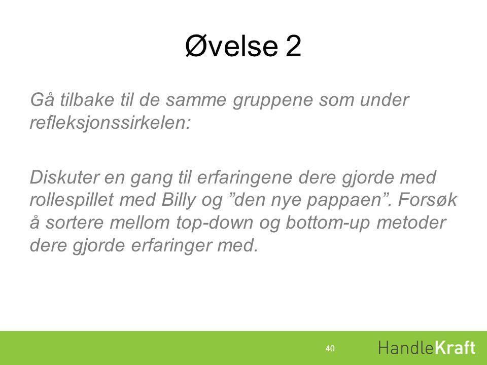 Øvelse 2 Gå tilbake til de samme gruppene som under refleksjonssirkelen: