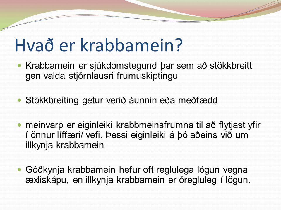 Hvað er krabbamein Krabbamein er sjúkdómstegund þar sem að stökkbreitt gen valda stjórnlausri frumuskiptingu.