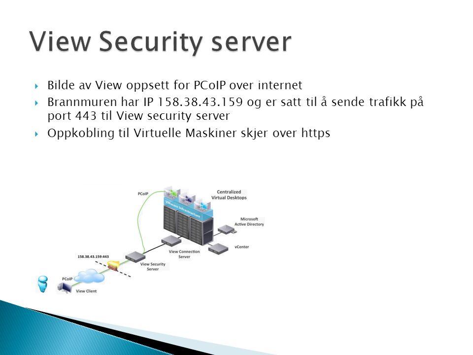 View Security server Bilde av View oppsett for PCoIP over internet