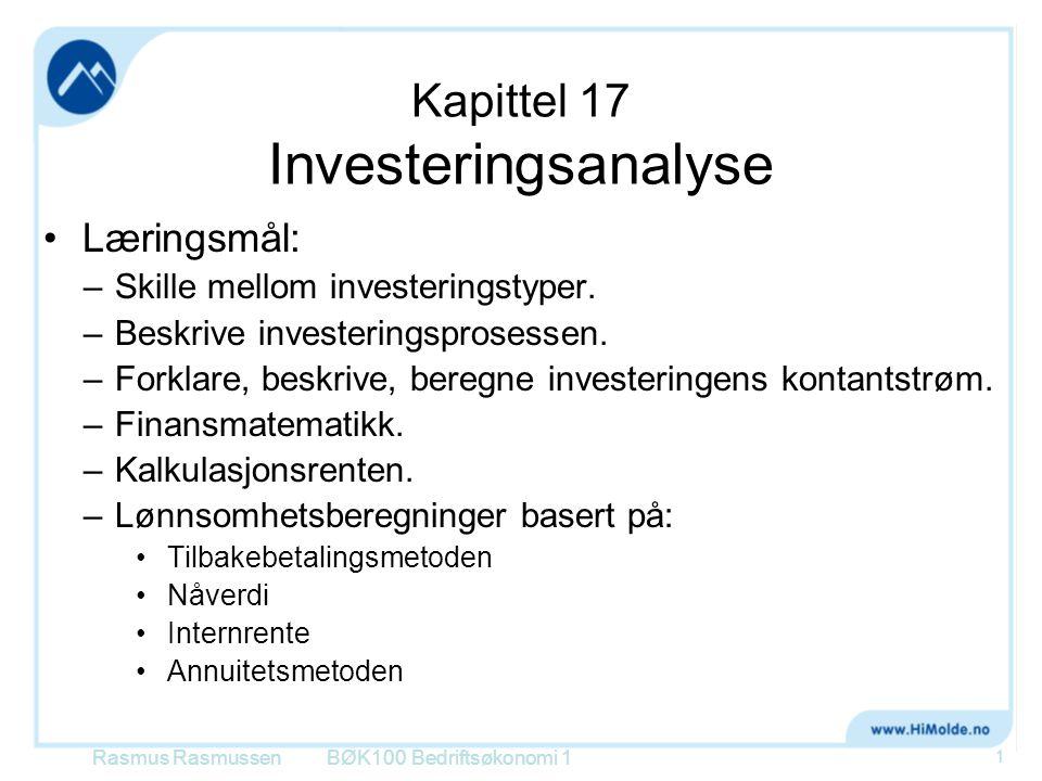 Kapittel 17 Investeringsanalyse