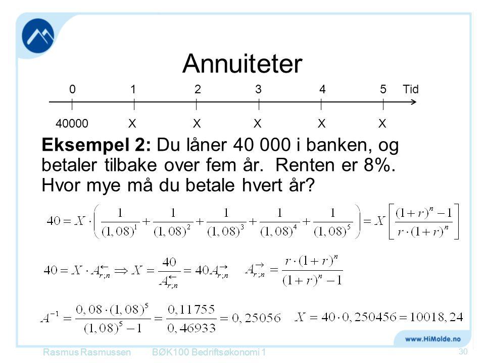 Annuiteter 40000. X. 1. 2. 4. Tid. 3. 5.