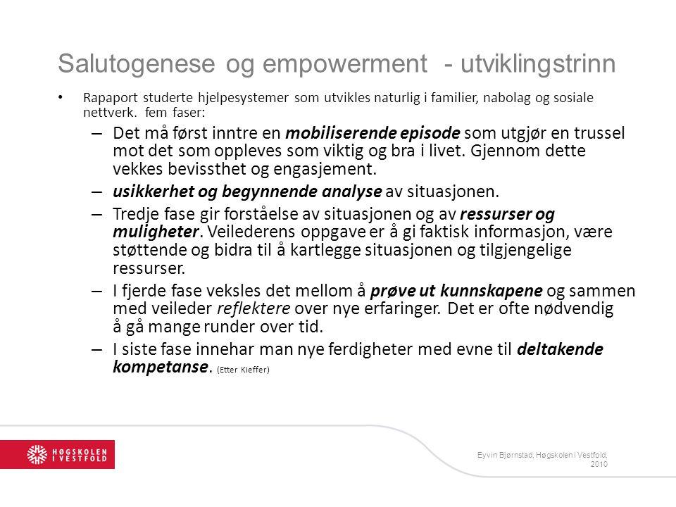 Salutogenese og empowerment - utviklingstrinn