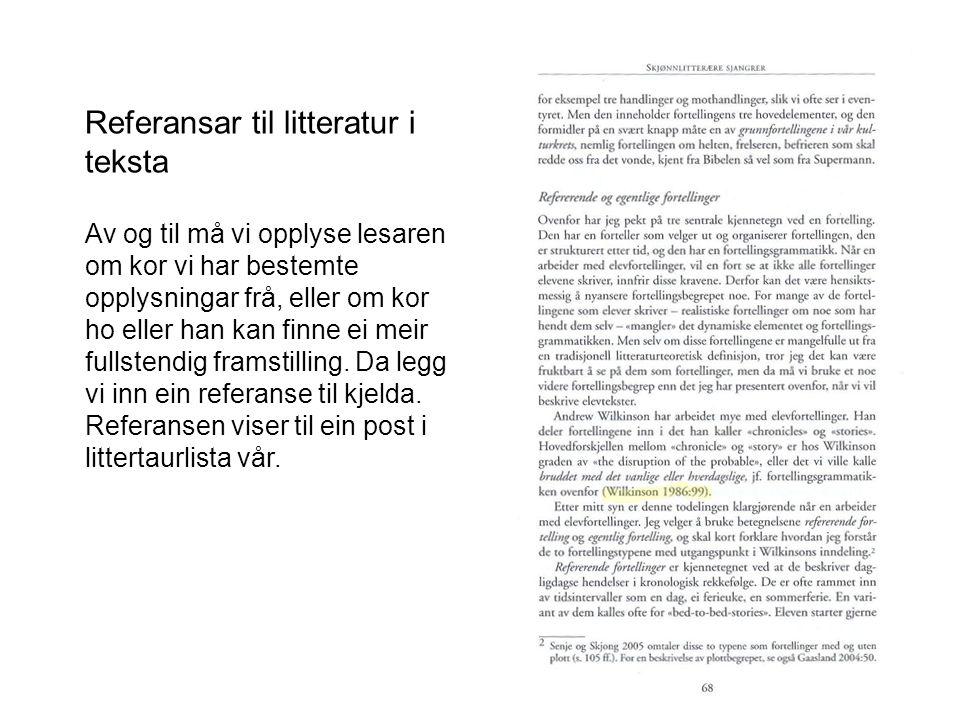 Referansar til litteratur i teksta