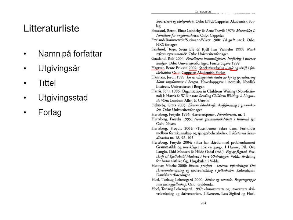 Litteraturliste Namn på forfattar Utgivingsår Tittel Utgivingsstad