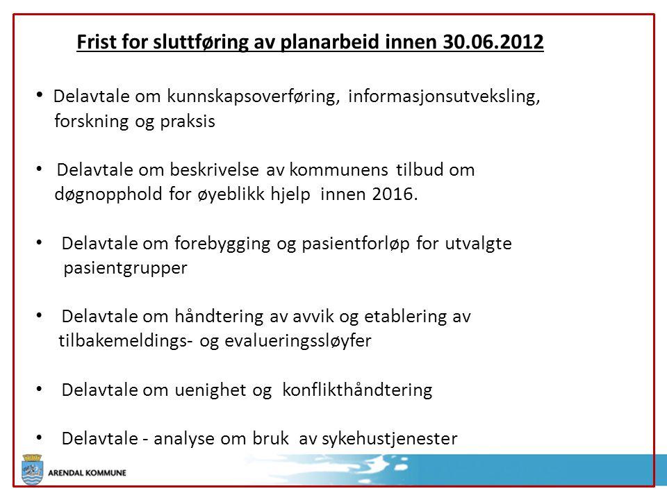 Frist for sluttføring av planarbeid innen 30.06.2012