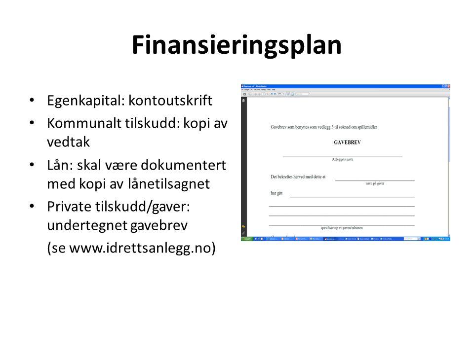 Finansieringsplan Egenkapital: kontoutskrift