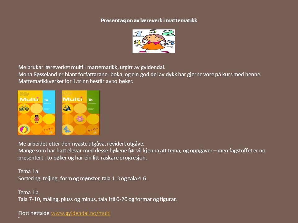 Presentasjon av læreverk i mattematikk
